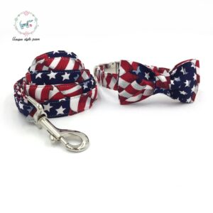 The Flag Bow Tie Dog Collar with Matching Leash